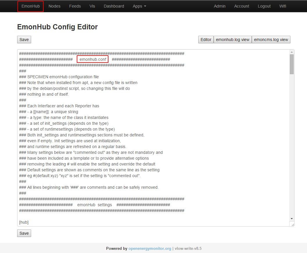EmonHub editor
